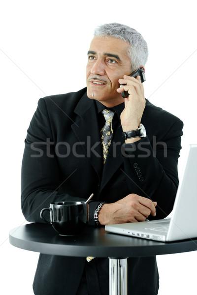 Сток-фото: бизнесмен · рабочих · зрелый · Постоянный · кофейный · столик · говорить