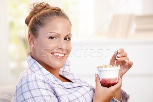 привлекательный еды йогурт домой диеты Сток-фото © nyul