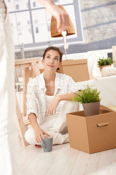 Photo stock: Déplacement · maison · femme · séance · cases