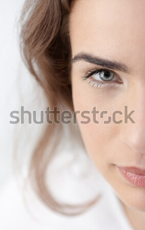 Closeup half portrait of beautiful woman Stock photo © nyul