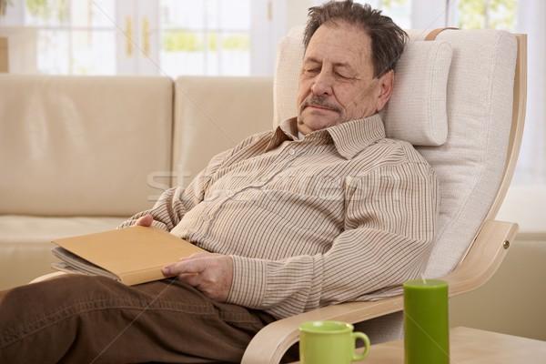 Altos hombre dormir sillón lectura Foto stock © nyul