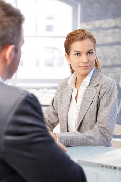 Attractive woman during job interview Stock photo © nyul