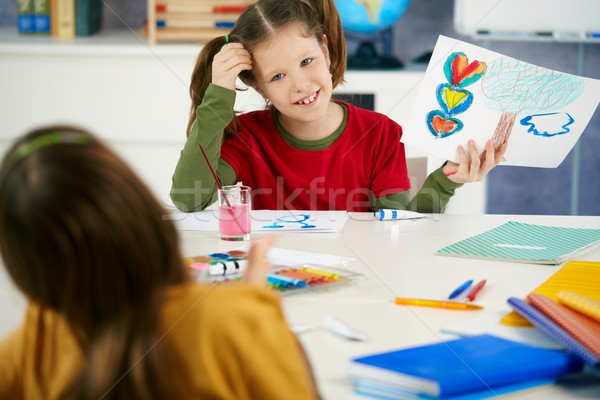 Stockfoto: Kinderen · schilderij · kunst · klasse · portret