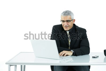 Işadamı çalışma bilgisayar olgun oturma Stok fotoğraf © nyul