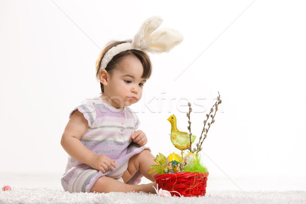 Baby in easter bunny costume Stock photo © nyul