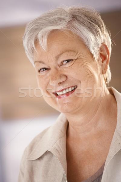 Ritratto felice senior donna primo piano capelli bianchi Foto d'archivio © nyul