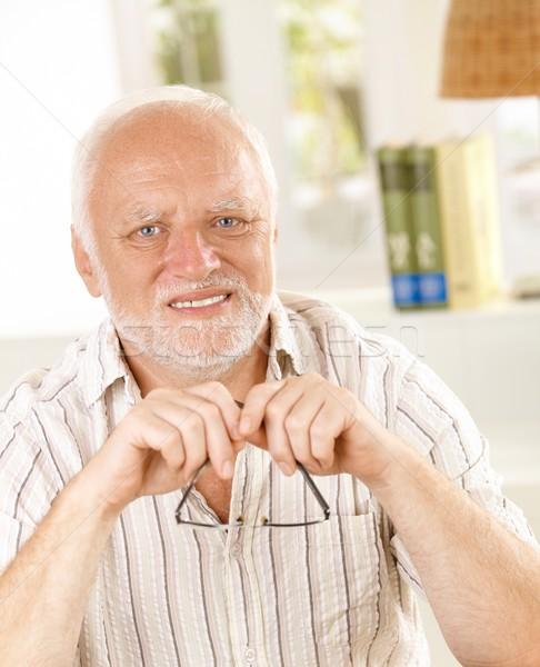 Retrato senior homem óculos cabelos brancos Foto stock © nyul