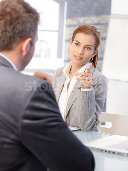 Female hr manager interviewing male applicant Stock photo © nyul
