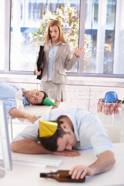 üzletasszony megrémült rendetlenség vonzó iroda utolsó Stock fotó © nyul