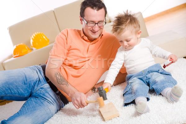 Сток-фото: отец · ребенка · мальчика · играет · отцом · сына · строительство