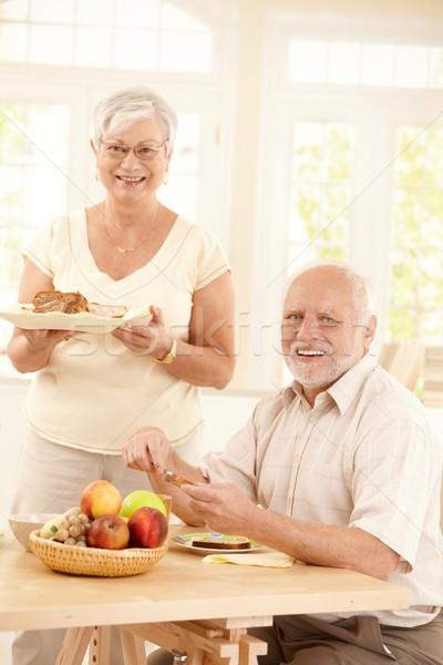 Сток-фото: портрет · счастливым · завтрак · таблице · ярко
