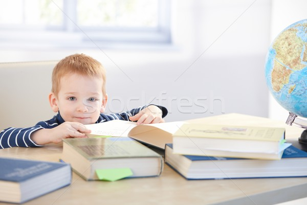 Little child prodigy learning at home smiling Stock photo © nyul