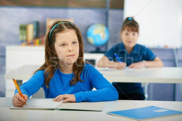 Schoolgirls in elementary school classroom Stock photo © nyul