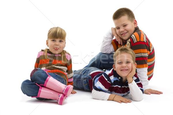 Cute детей группа счастливым полу Сток-фото © nyul