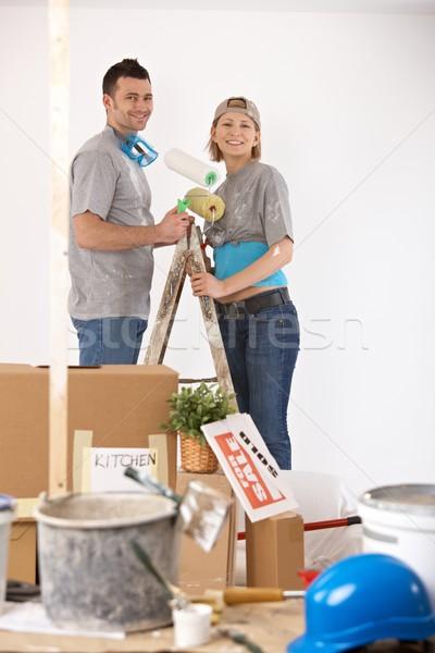портрет Живопись домой новый дом улыбаясь Сток-фото © nyul