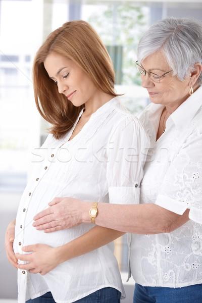 Foto stock: Altos · madre · embarazadas · hija · ambos