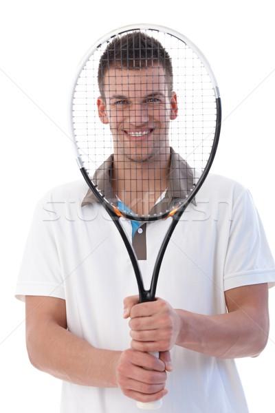 Jóvenes sonriendo felizmente raqueta de tenis Foto stock © nyul