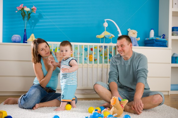 Happy family at home Stock photo © nyul