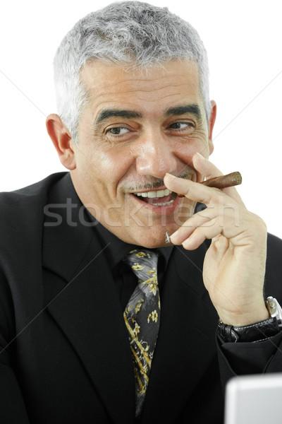 Foto stock: Empresário · charuto · retrato · maduro · fumador