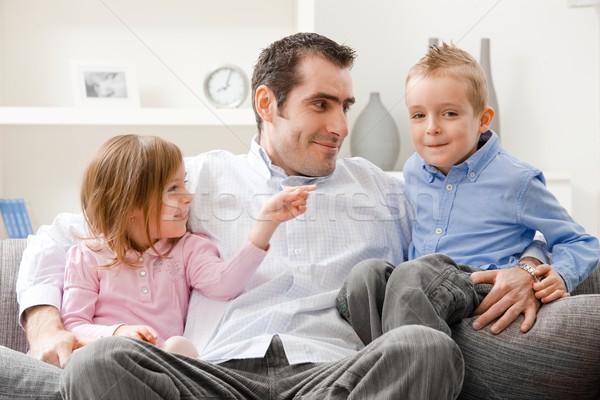 Vaderschap vader weinig broers en zussen vergadering Stockfoto © nyul