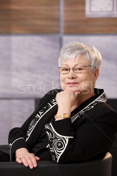 ストックフォト: 肖像 · アクティブ · シニア · 女性 · 座って