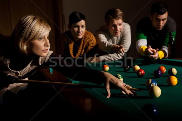 Nő játszik snooker játék dől asztal Stock fotó © nyul