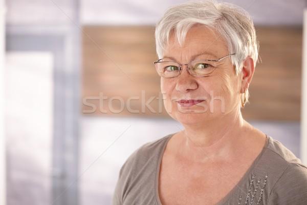 Stockfoto: Portret · senior · vrouw · bril · gelukkig