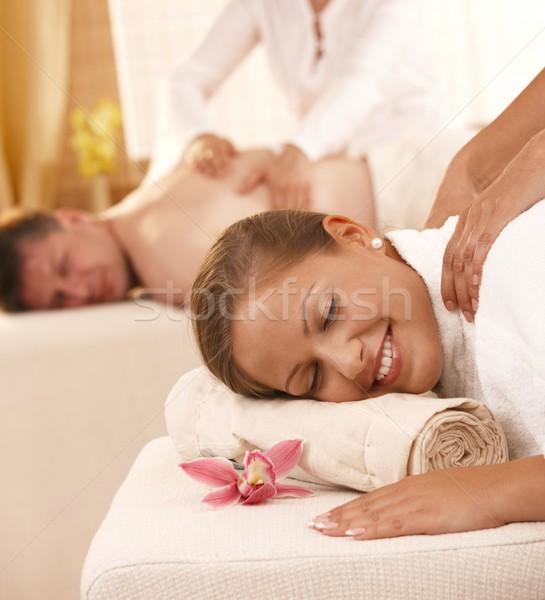 çift geri masaj portre mutlu Stok fotoğraf © nyul