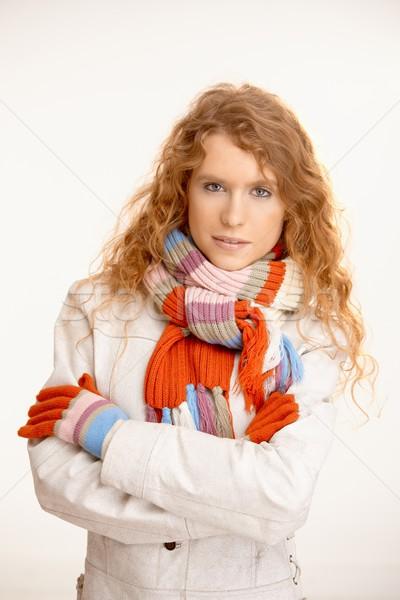Pretty girl dressed up for winter fun Stock photo © nyul