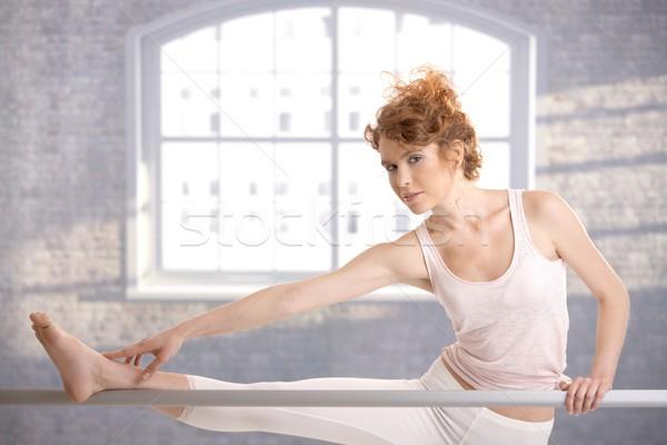 Ballerina lány nyújtás bár stúdió csinos Stock fotó © nyul