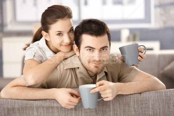 Stock foto: Glücklich · Paar · Sitzung · Sofa · Harmonie · home