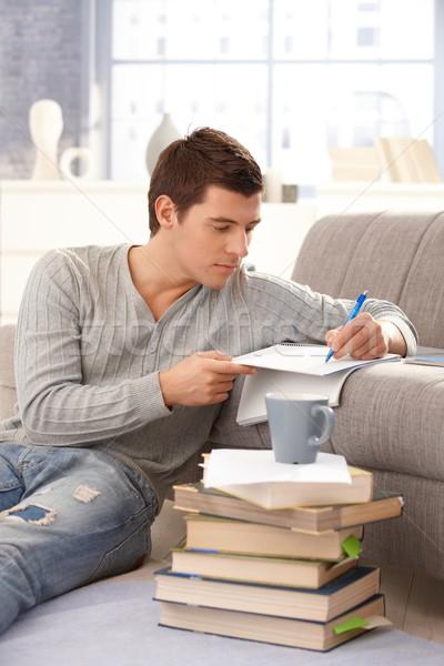Egyetemi hallgató ír jegyzetek otthon tanul ül Stock fotó © nyul