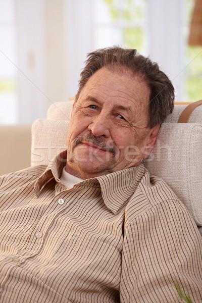 Сток-фото: портрет · старший · человека · кресло · домой