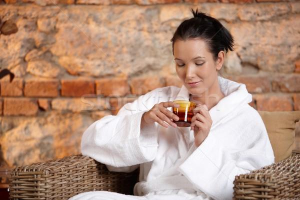 女性 バスローブ 茶 アームチェア 笑みを浮かべて ストックフォト © nyul