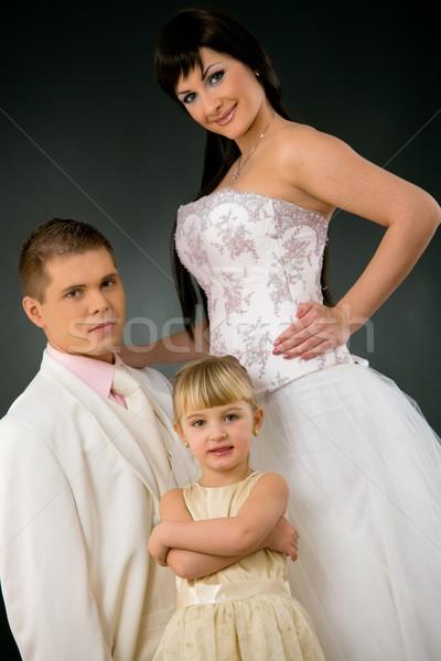 Esküvő portré pár kislány koszorúslány menyasszony Stock fotó © nyul