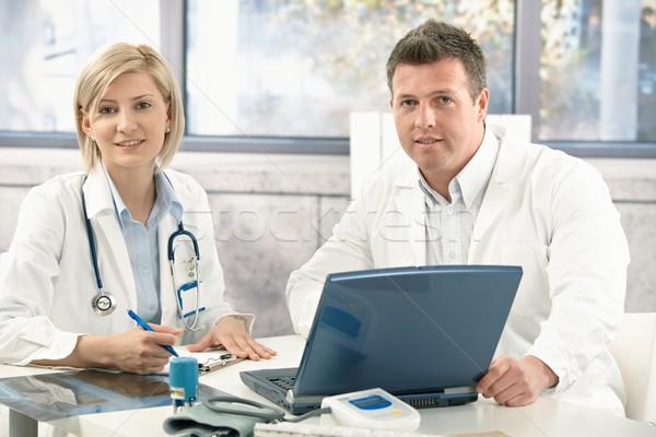 Stok fotoğraf: Portre · tıbbi · doktorlar · ofis · bilgisayar