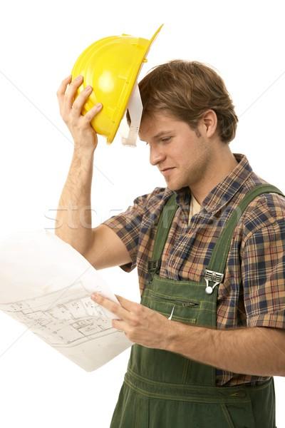 Jungen Builder schauen Grundriss halten Stock foto © nyul
