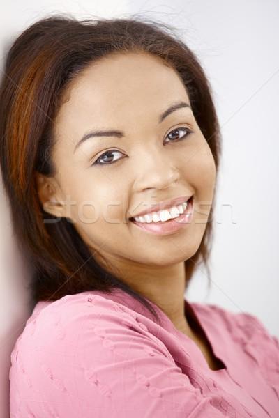 Stock fotó: Portré · boldog · közelkép · gyönyörű · afro · nő