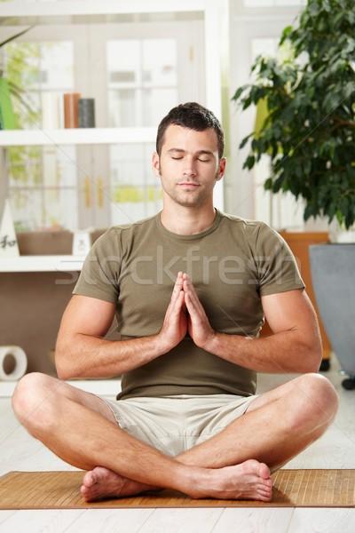 Foto stock: Hombre · yoga · ejercicio · casa · sesión · piso