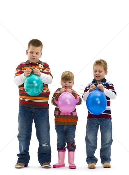 Heureux enfants jouet ballon jeans Photo stock © nyul
