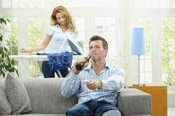Foto stock: Pareja · casa · marido · sesión · sofá · viendo