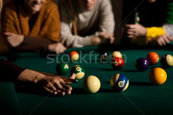 Játszik snooker női kéz fókusz asztal Stock fotó © nyul