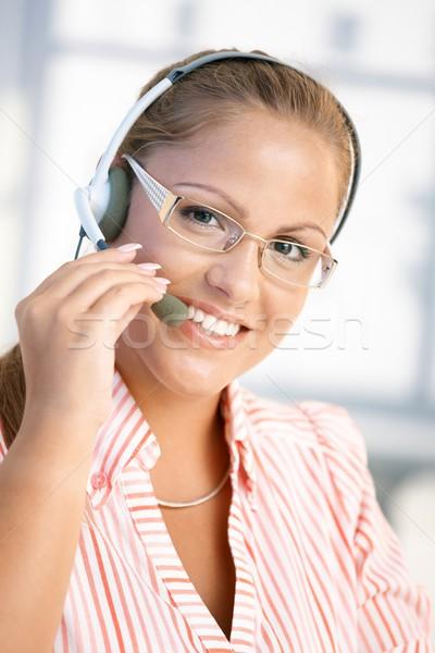 Сток-фото: портрет · довольно · рабочих · улыбаясь · служба · гарнитура