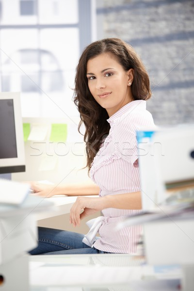 молодые секретарь рабочих компьютер служба ярко Сток-фото © nyul