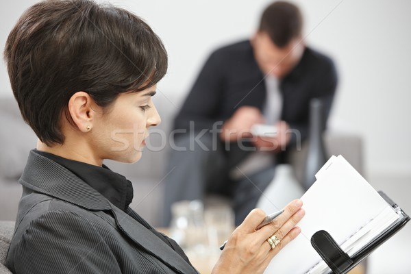 Businesswoman with personal organizer Stock photo © nyul