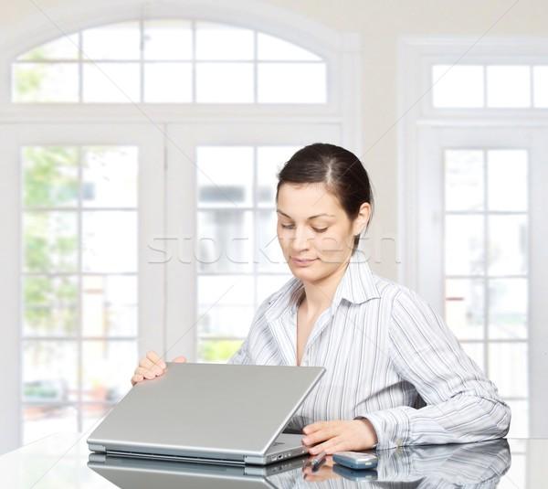 Reggel otthon fiatal nő laptop számítógép Stock fotó © nyul