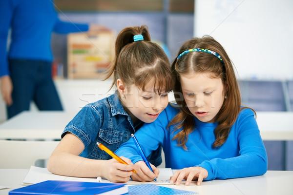 Сток-фото: детей · обучения · школьницы · вместе