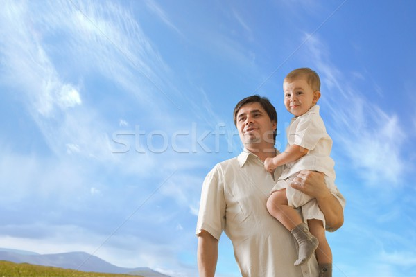 Ojcostwo ojciec rok starych baby chłopca Zdjęcia stock © nyul