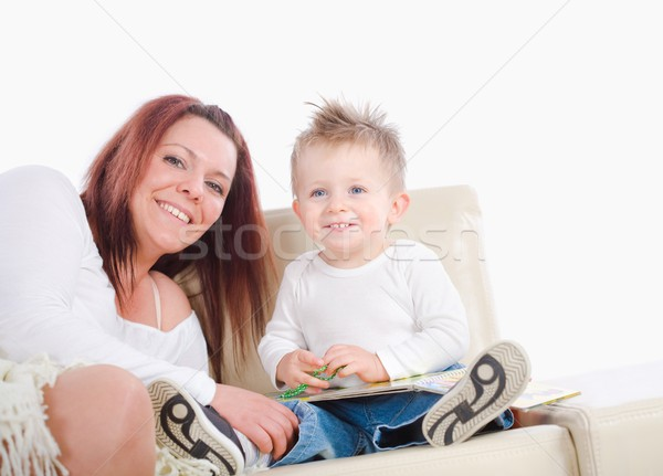 Mother reading for baby Stock photo © nyul