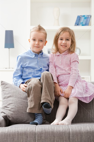 Boldog testvérek portré kicsi ül együtt Stock fotó © nyul